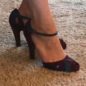"Oh....deer! peep toe trapeze 4.5"" leather heels"